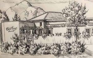Cafe Roma Exterior Sketch